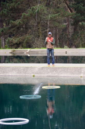 Ben Miller practices fly casting at the casting pools of the Golden Gate Angling and Casting Club in Golden Gate Park in San Francisco, Ca. on Tuesday, December 13, 2016. Miller, who said he's lived in the city for ten years and just recently found out about the casting pools a month earlier, is now a member of the club, which gives free casting lessons to its members and opens its pools to the public for practice. Photo by David Andrews.