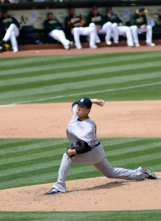 New York Yankees pitcher Masahiro Tanaka pitches against the Oakland Athletics at O.Co Coliseum in Oakland, Ca. on Saturday, May 21, 2016. Tanaka allowed just one run over seven innings as the Yankees beat the A's 5-1 and earned their first 4-game win streak of the 2016 season. Photo by David Andrews