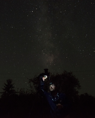 Photographer Michael Vebber photographs the Milky Way Galaxy in Monmouth, Or. just after midnight on Monday, August 21, 2017. With a new moon and the Great American eclipse set to take place later that morning, astrophotographers got a clear look at the exceedingly dark Monmouth sky. Photo by David Andrews