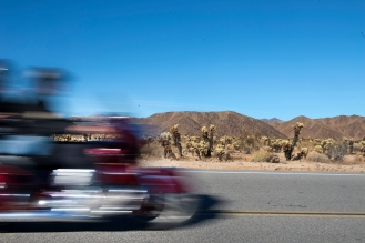 A pair of motorcyclists ride through the Ocotillo Patch in Joshua Tree National Park in Twentynine Palms, Ca. on Friday, December 29, 2017. Photo by David Andrews.